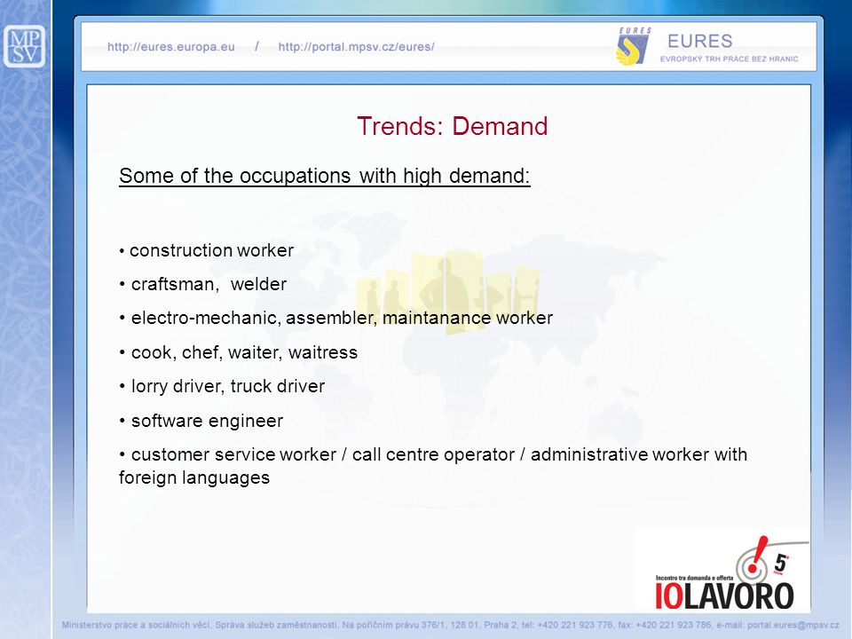 Trends: Demand Some of the occupations with high demand: construction worker craftsman, welder electro-mechanic, assembler, maintanance worker cook, chef, waiter, waitress lorry driver, truck driver software engineer customer service worker / call centre operator / administrative worker with foreign languages