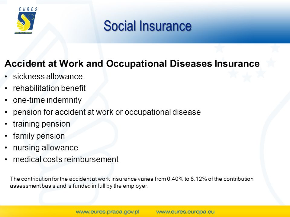 Social Insurance Accident at Work and Occupational Diseases Insurance sickness allowance rehabilitation benefit one-time indemnity pension for accident at work or occupational disease training pension family pension nursing allowance medical costs reimbursement The contribution for the accident at work insurance varies from 0.40% to 8.12% of the contribution assessment basis and is funded in full by the employer.