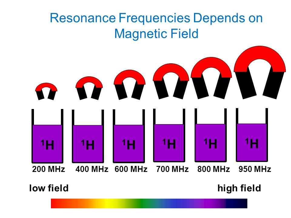 Resonance Frequencies Depends on Magnetic Field low field high field 1H1H 200 MHz 400 MHz 600 MHz 700 MHz 800 MHz 950 MHz 1H1H 1H1H 1H1H 1H1H 1H1H