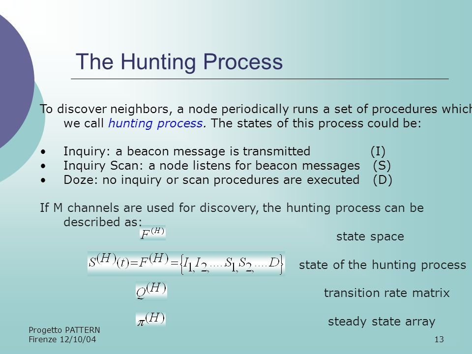 Progetto PATTERN Firenze 12/10/0413 The Hunting Process To discover neighbors, a node periodically runs a set of procedures which we call hunting process.
