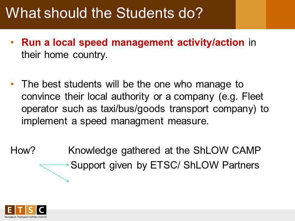 What should the Students do. Run a local speed management activity/action in their home country.