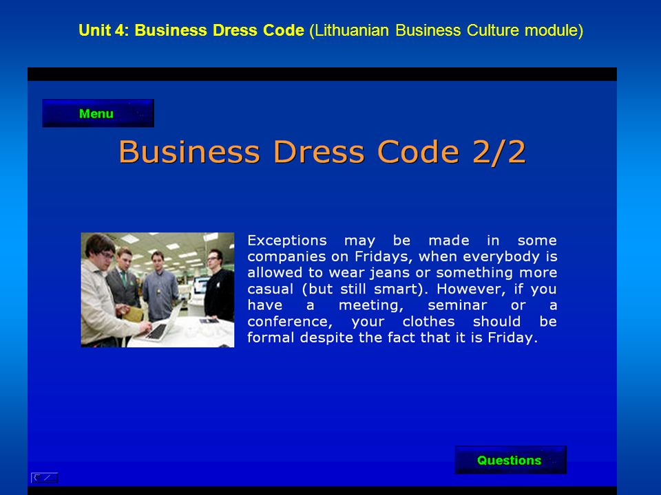 Unit 4: Business Dress Code (Lithuanian Business Culture module)