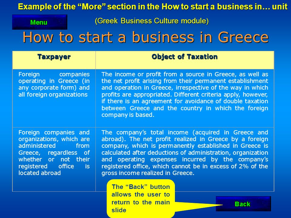 Example of the More section in the How to start a business in… unit Example of the More section in the How to start a business in… unit (Greek Business Culture module ) How to start a business in Greece Taxpayer Object of Taxation Foreign companies operating in Greece (in any corporate form) and all foreign organizations The income or profit from a source in Greece, as well as the net profit arising from their permanent establishment and operation in Greece, irrespective of the way in which profits are appropriated.