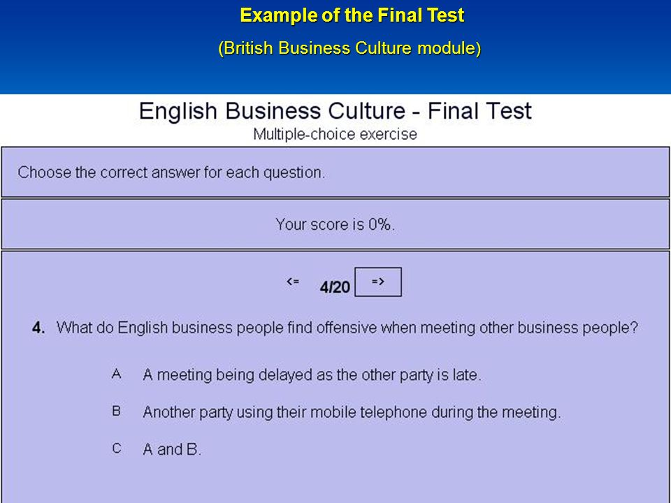 Example of the Final Test Example of the Final Test (British Business Culture module )