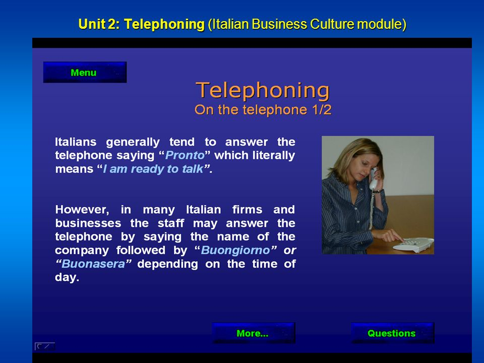 Unit 2: Telephoning (Italian Business Culture module)