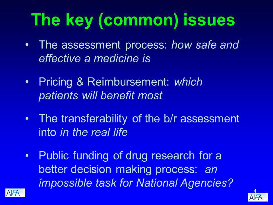 4 The key (common) issues The assessment process: how safe and effective a medicine is Pricing & Reimbursement: which patients will benefit most The transferability of the b/r assessment into in the real life Public funding of drug research for a better decision making process: an impossible task for National Agencies