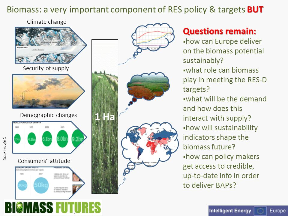 BUT Biomass: a very important component of RES policy & targets BUT Climate change Demographic changes Security of supply Consumers attitude 1 Ha Source: BBC Questions remain: how can Europe deliver on the biomass potential sustainably.
