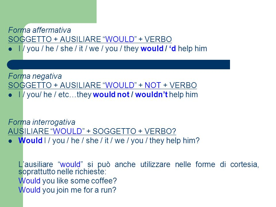 Forma affermativa SOGGETTO + AUSILIARE WOULD + VERBO I / you / he / she / it / we / you / they would / d help him Forma negativa SOGGETTO + AUSILIARE WOULD + NOT + VERBO I / you/ he / etc…they would not / wouldnt help him Forma interrogativa AUSILIARE WOULD + SOGGETTO + VERBO.