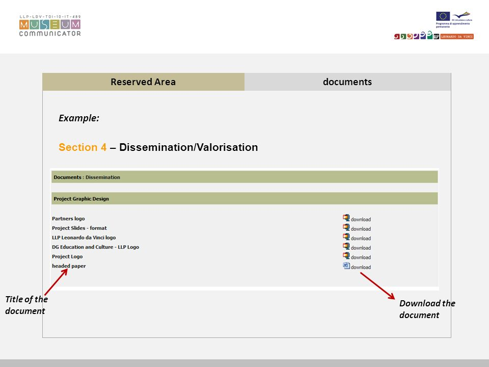 Reserved Areadocuments Section 4 – Dissemination/Valorisation Example: Download the document Title of the document