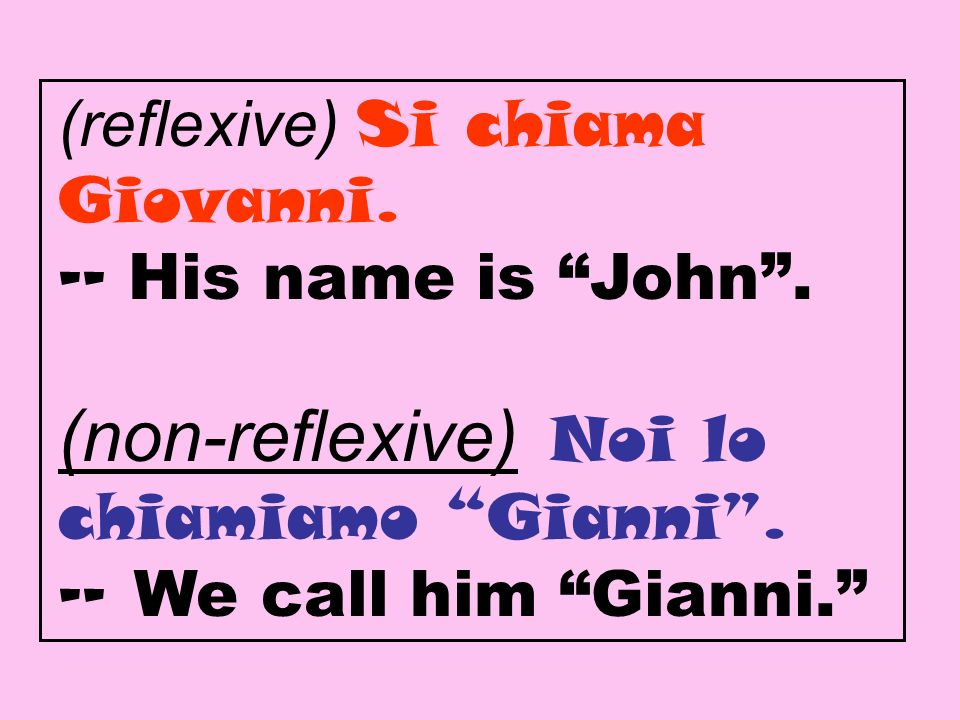 (reflexive) Si chiama Giovanni. -- His name is John.