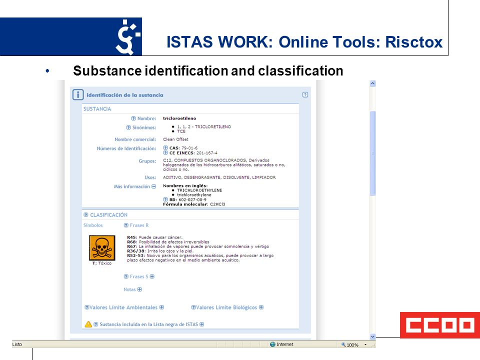 14 ISTAS WORK: Online Tools: Risctox Substance identification and classification