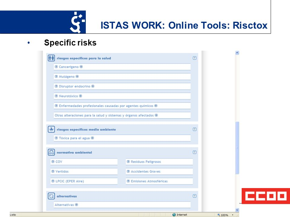 15 ISTAS WORK: Online Tools: Risctox Specific risks