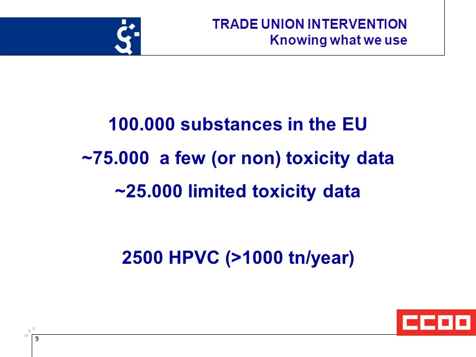 9 TRADE UNION INTERVENTION Knowing what we use substances in the EU ~ a few (or non) toxicity data ~ limited toxicity data 2500 HPVC (>1000 tn/year)