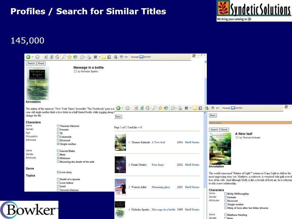 Profiles / Search for Similar Titles 145,000