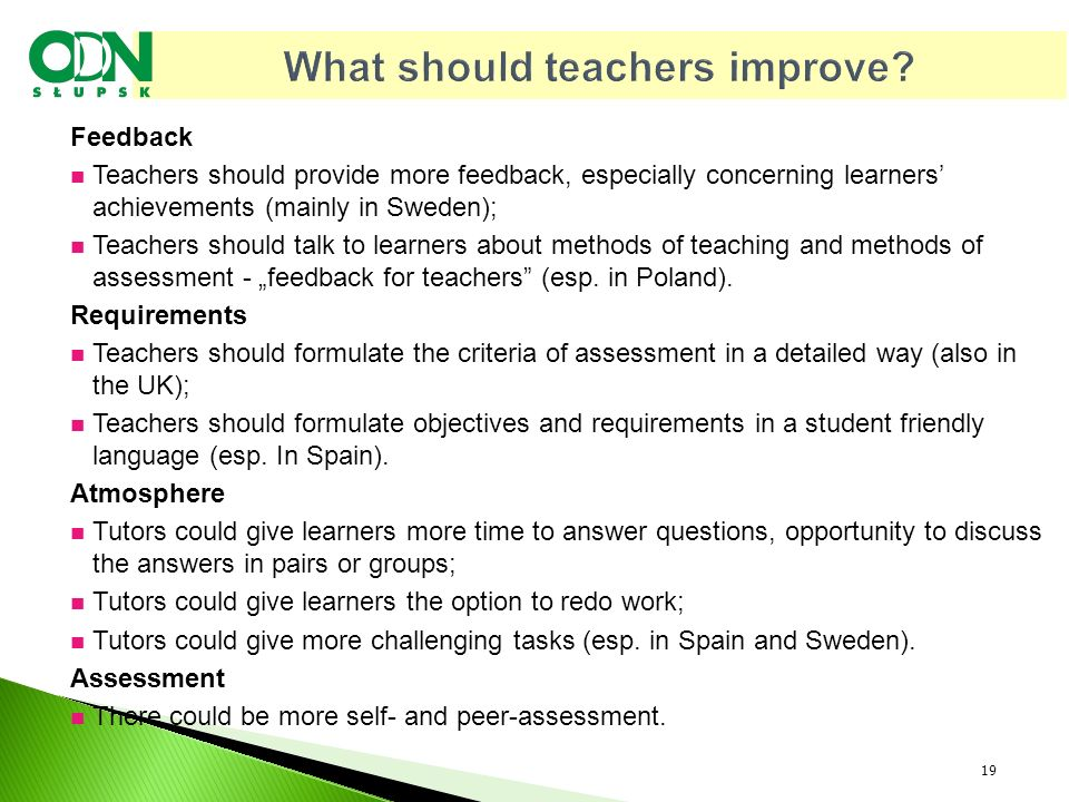 What should teachers improve.