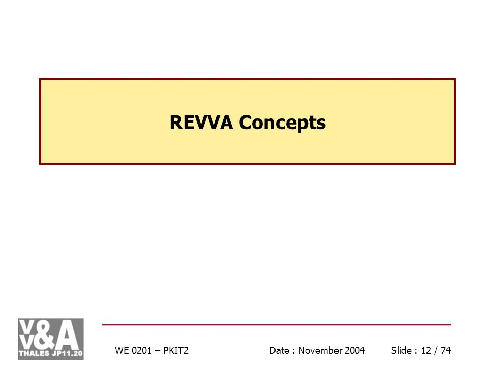 WE 0201 – PKIT2Date : November 2004Slide : 12 / 74 REVVA Concepts