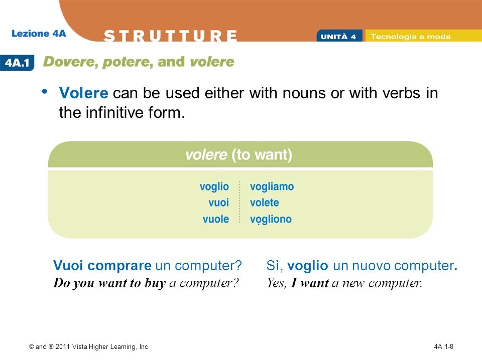 © and ® 2011 Vista Higher Learning, Inc.4A.1-8 Volere can be used either with nouns or with verbs in the infinitive form.