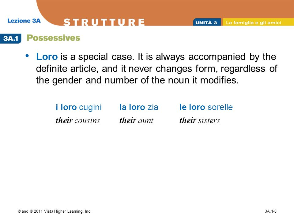 © and ® 2011 Vista Higher Learning, Inc.3A.1-8 Loro is a special case.