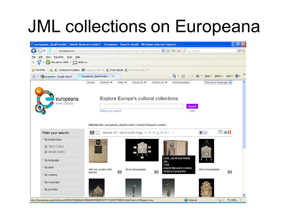 JML collections on Europeana