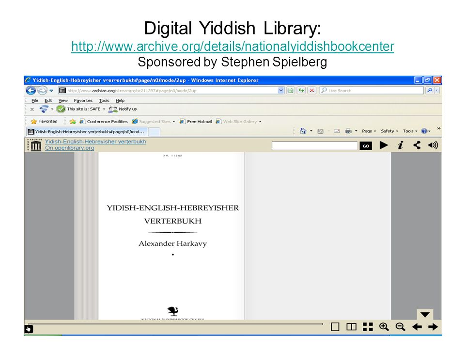 Digital Yiddish Library:   Sponsored by Stephen Spielberg
