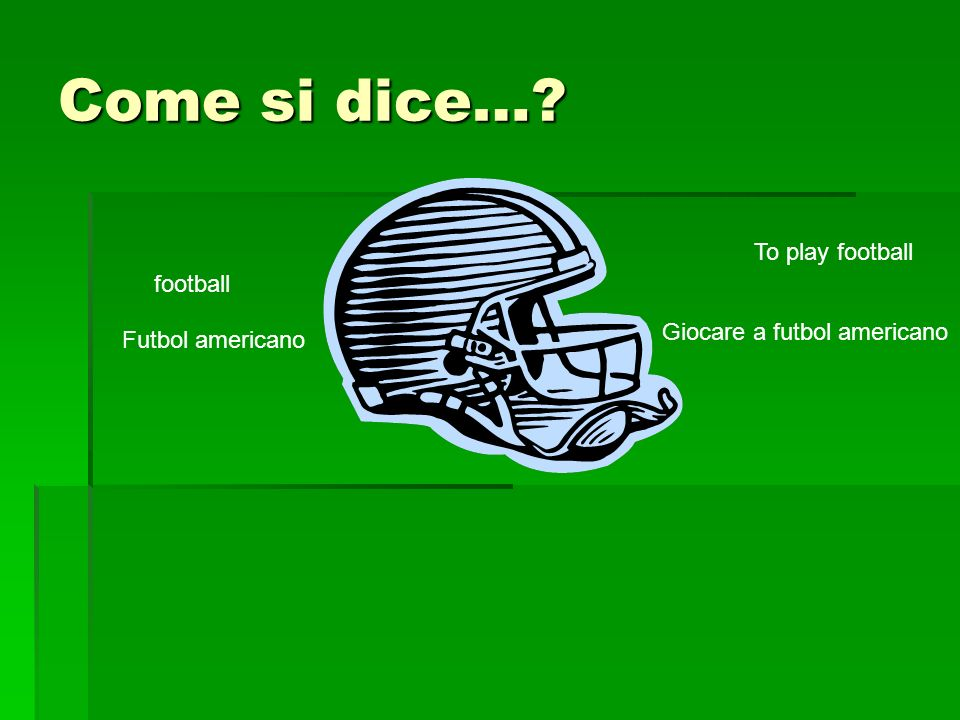 Come si dice… football Futbol americano To play football Giocare a futbol americano