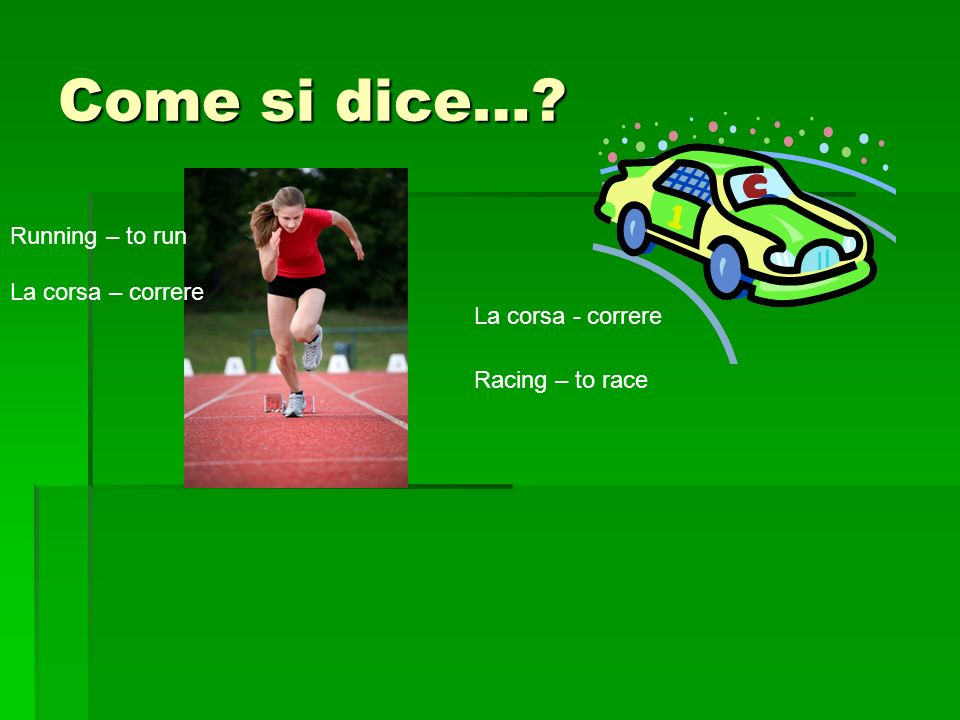 Come si dice… Running – to run Racing – to race La corsa – correre La corsa - correre
