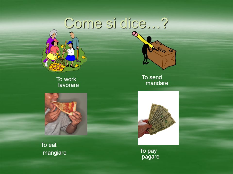 Come si dice… To work To send To eat To pay lavorare mandare mangiare pagare