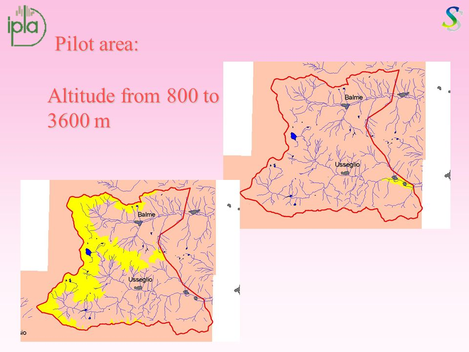 Pilot area: Altitude from 800 to 3600 m