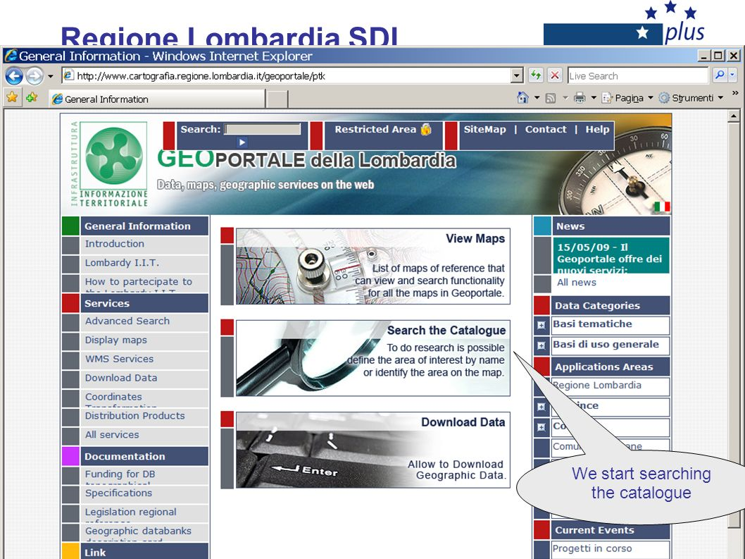 Regione Lombardia SDI We start searching the catalogue
