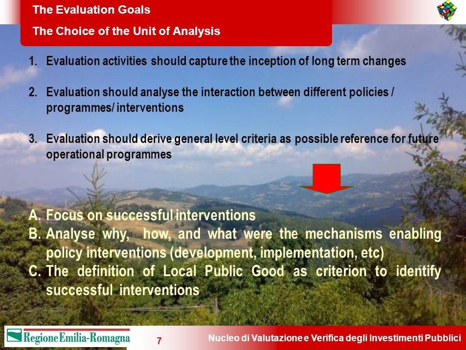 Nucleo di Valutazione e Verifica degli Investimenti Pubblici 7 The Evaluation Goals The Choice of the Unit of Analysis 1.Evaluation activities should capture the inception of long term changes 2.Evaluation should analyse the interaction between different policies / programmes/ interventions 3.Evaluation should derive general level criteria as possible reference for future operational programmes A.Focus on successful interventions B.Analyse why, how, and what were the mechanisms enabling policy interventions (development, implementation, etc) C.The definition of Local Public Good as criterion to identify successful interventions