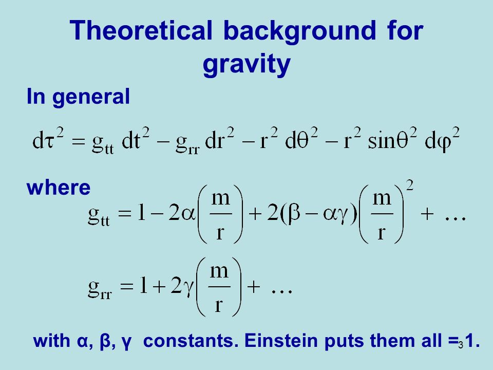 3 Theoretical background for gravity In general where with α, β, γ constants.