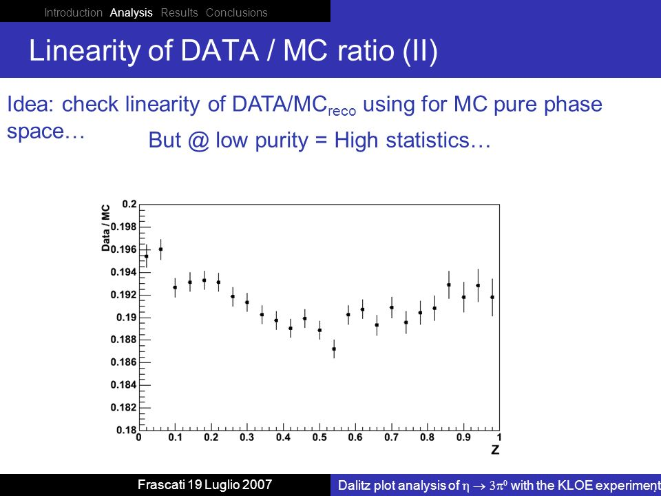 Introduction Analysis Results Conclusions Dalitz plot analysis of with the KLOE experiment Frascati 19 Luglio 2007 Linearity of DATA / MC ratio (II) Idea: check linearity of DATA/MC reco using for MC pure phase space… But @ low purity = High statistics…