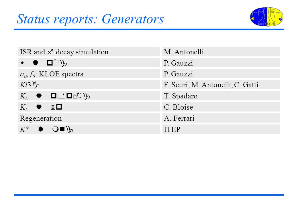 Status reports: Generators ISR and f decay simulation M.