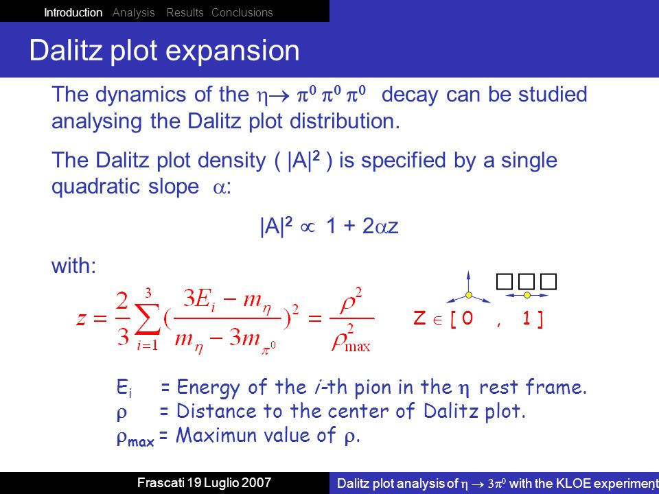 Introduction Analysis Results Conclusions Dalitz plot analysis of with the KLOE experiment Frascati 19 Luglio 2007 The dynamics of the decay can be studied analysing the Dalitz plot distribution.