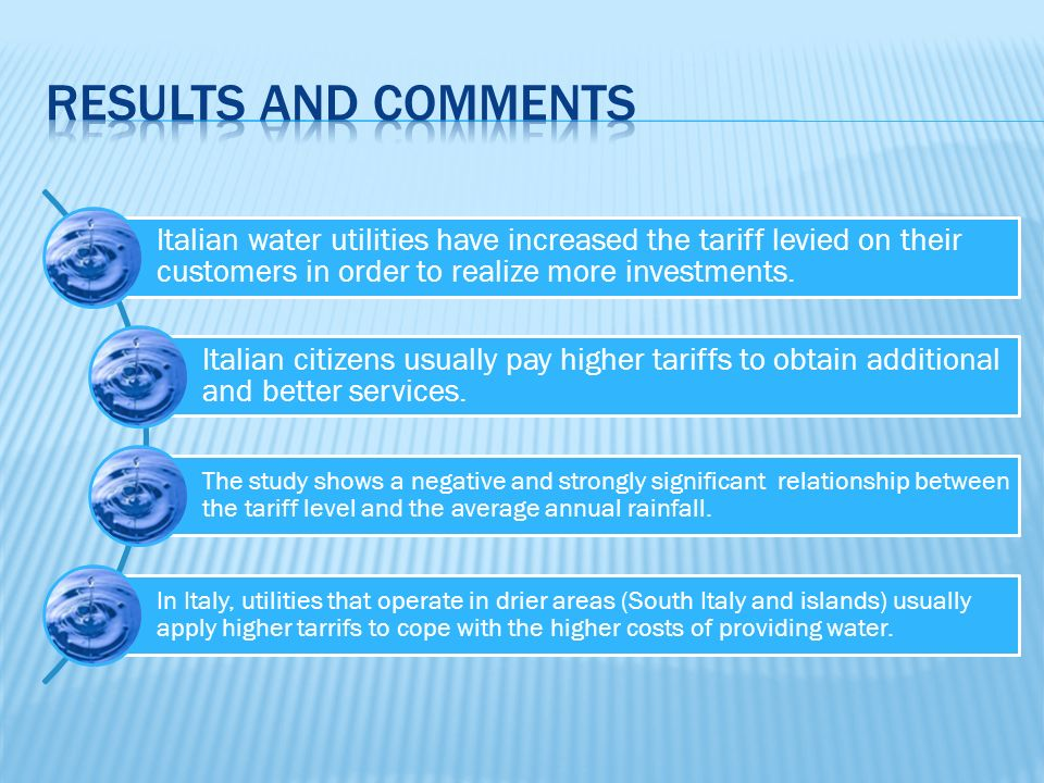 Italian water utilities have increased the tariff levied on their customers in order to realize more investments.
