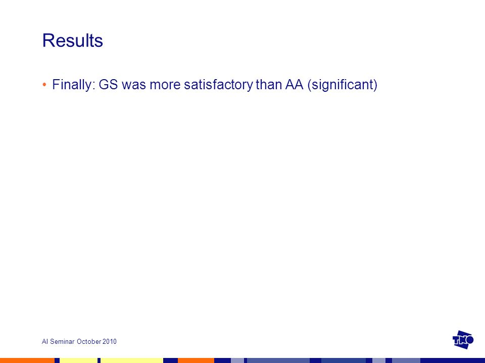 AI Seminar October 2010 Results Finally: GS was more satisfactory than AA (significant)