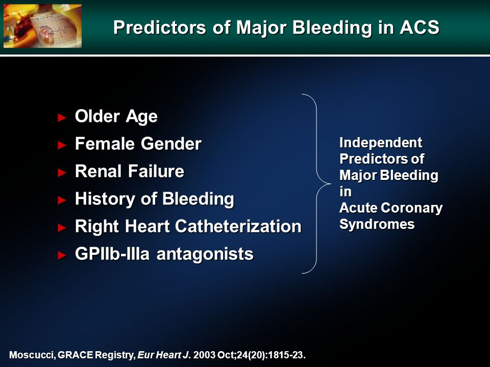 Independent Predictors of Major Bleeding in Acute Coronary Syndromes Moscucci, GRACE Registry, Eur Heart J.