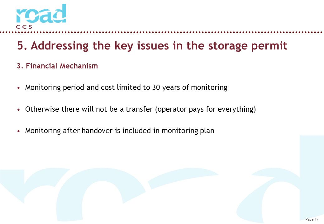 Page 17 5. Addressing the key issues in the storage permit 3.