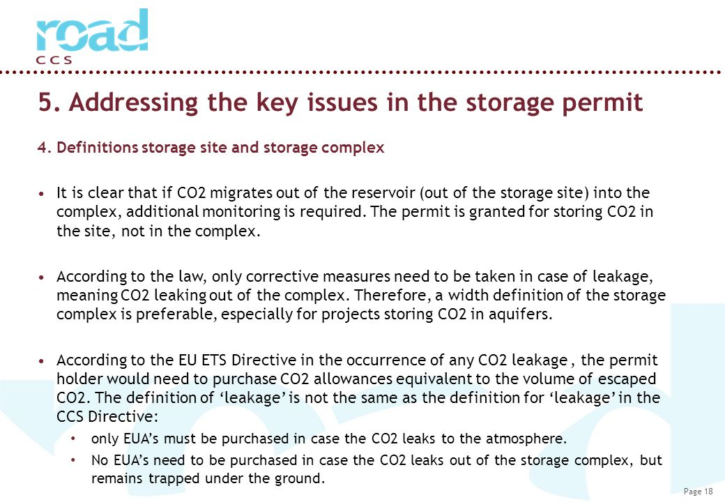 Page 18 5. Addressing the key issues in the storage permit 4.