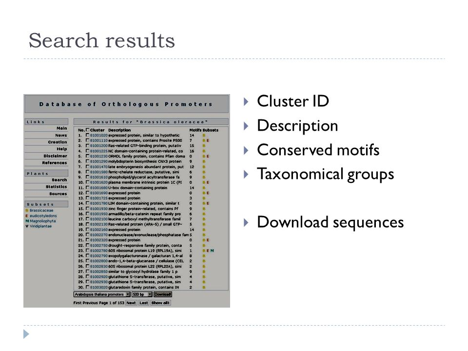 Search results Cluster ID Description Conserved motifs Taxonomical groups Download sequences