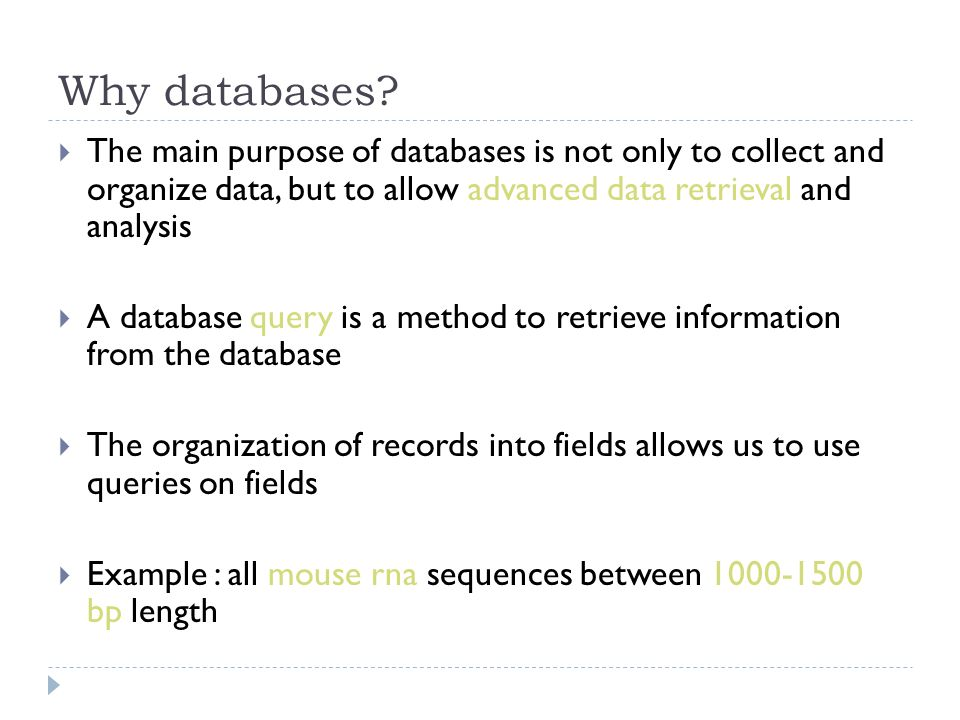 Why databases.