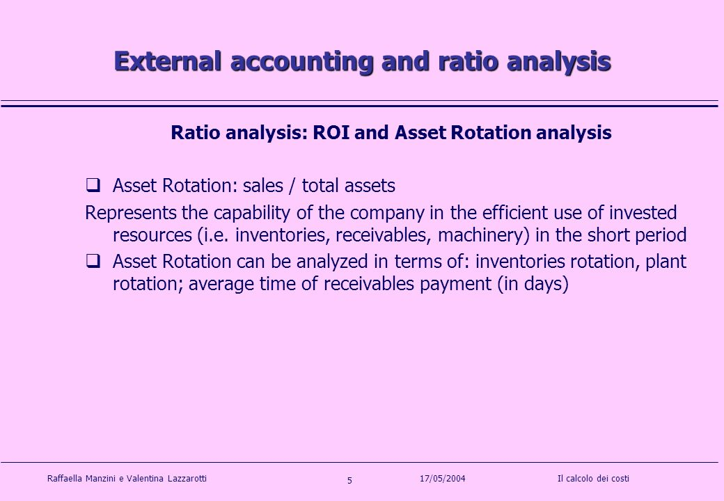 Raffaella Manzini e Valentina LazzarottiIl calcolo dei costi 5 17/05/2004 External accounting and ratio analysis Ratio analysis: ROI and Asset Rotation analysis Asset Rotation: sales / total assets Represents the capability of the company in the efficient use of invested resources (i.e.