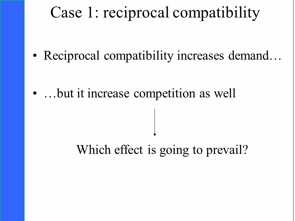 Copyright SDA Bocconi 2005 Competing Technologies, Network Externalities …n 26 Case 1: reciprocal compatibility Reciprocal compatibility increases demand… …but it increase competition as well Which effect is going to prevail