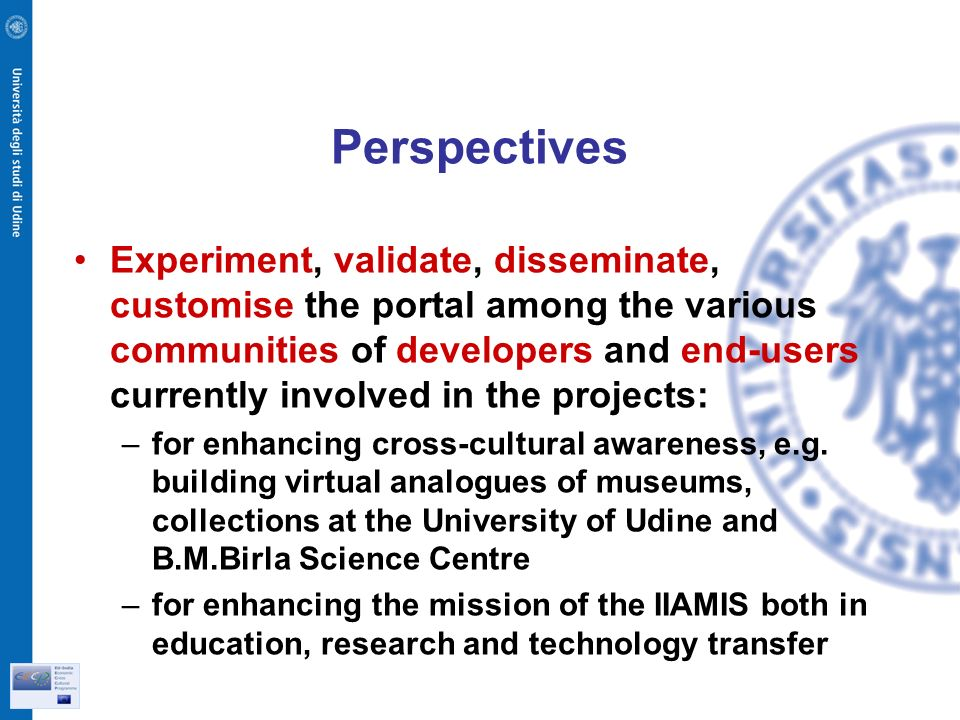 Perspectives Experiment, validate, disseminate, customise the portal among the various communities of developers and end-users currently involved in the projects: –for enhancing cross-cultural awareness, e.g.