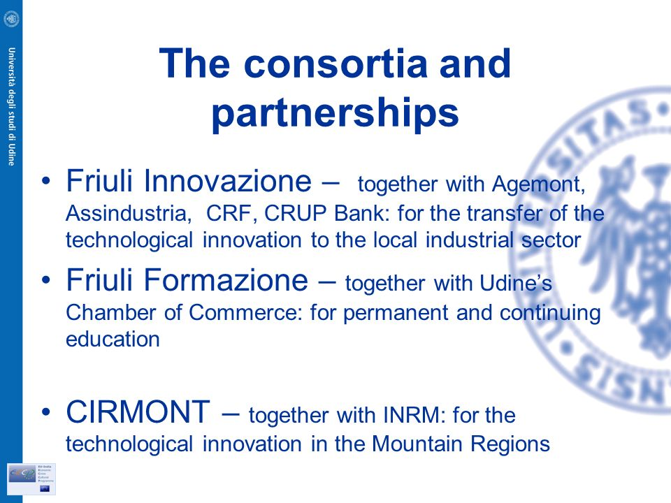 The consortia and partnerships Friuli Innovazione – together with Agemont, Assindustria, CRF, CRUP Bank: for the transfer of the technological innovation to the local industrial sector Friuli Formazione – together with Udines Chamber of Commerce: for permanent and continuing education CIRMONT – together with INRM: for the technological innovation in the Mountain Regions