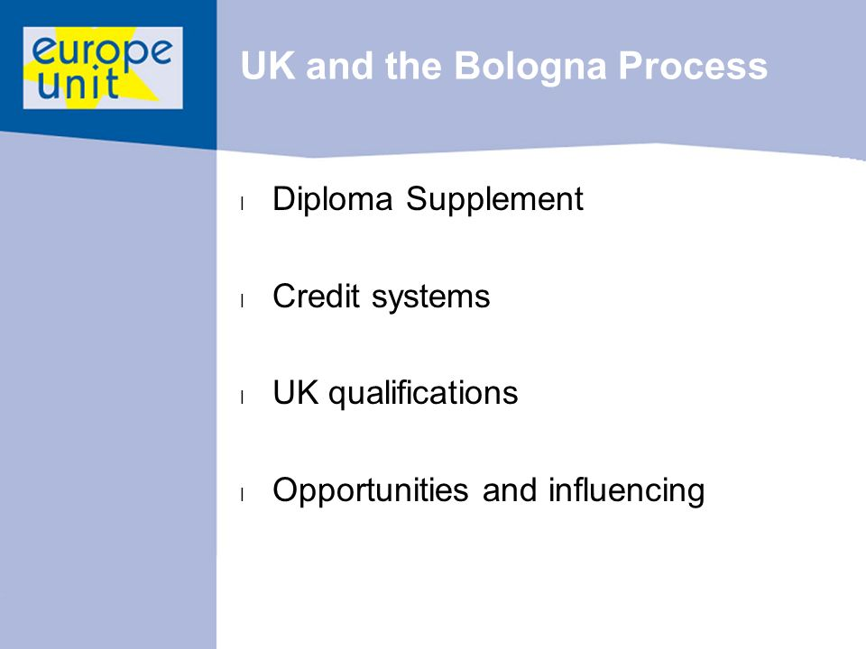 UK and the Bologna Process l Diploma Supplement l Credit systems l UK qualifications l Opportunities and influencing