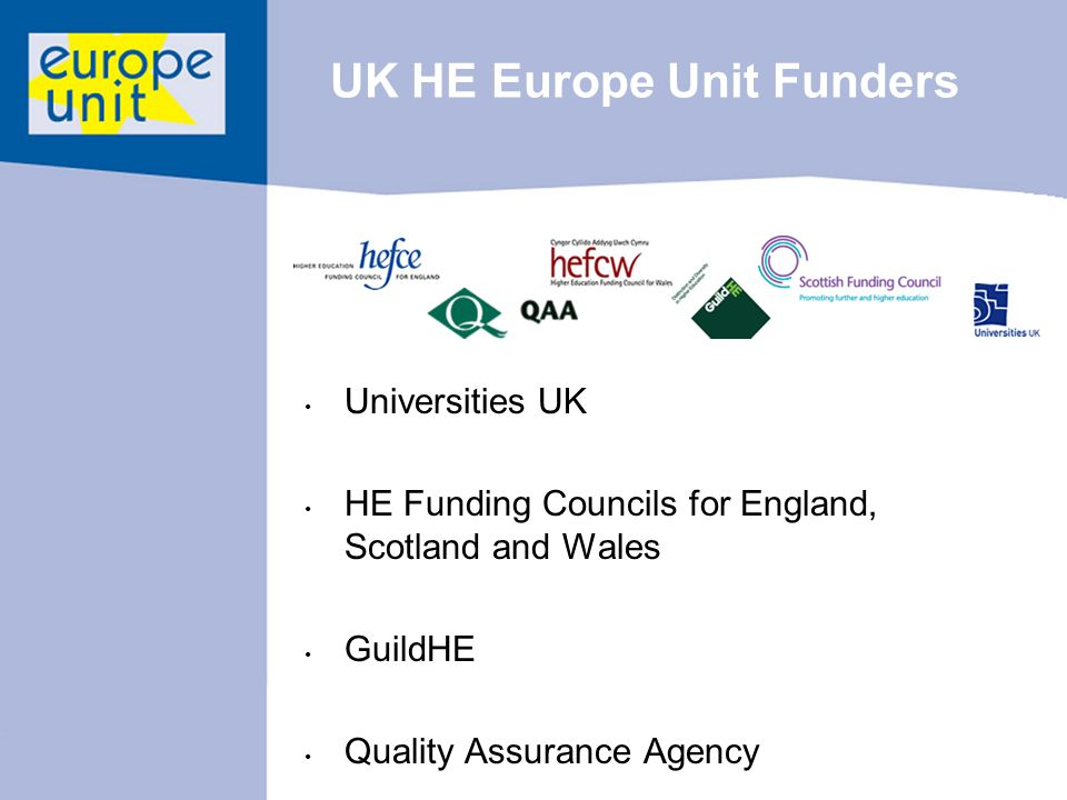UK HE Europe Unit Funders Universities UK HE Funding Councils for England, Scotland and Wales GuildHE Quality Assurance Agency