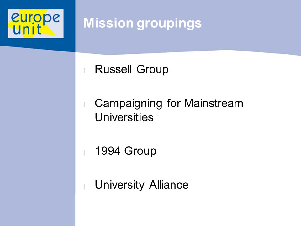 Mission groupings l Russell Group l Campaigning for Mainstream Universities l 1994 Group l University Alliance