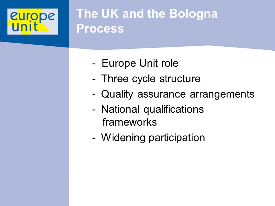 The UK and the Bologna Process - Europe Unit role - Three cycle structure - Quality assurance arrangements - National qualifications frameworks - Widening participation