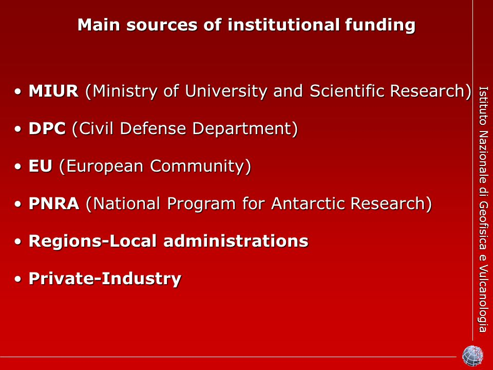 Istituto Nazionale di Geofisica e Vulcanologia Main sources of institutional funding MIUR (Ministry of University and Scientific Research) MIUR (Ministry of University and Scientific Research) DPC (Civil Defense Department) DPC (Civil Defense Department) EU (European Community) EU (European Community) PNRA (National Program for Antarctic Research) PNRA (National Program for Antarctic Research) Regions-Local administrations Regions-Local administrations Private-Industry Private-Industry